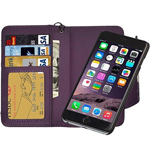 Funda Iphone, 2 en 1 caja de cuero separable de la PU del tirón del estilo de la carpeta separable con el acollador para el iPhone 6 y 6S ( Color : Purple ) Purple