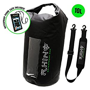 Rhino USA Waterproof Dry Bag 10L Backpack, IPX8 Certified Water Proof Accessories for Kayak, Beach, Boating, Paddle Board, Includes FREE Underwater Phone Camera Case &
