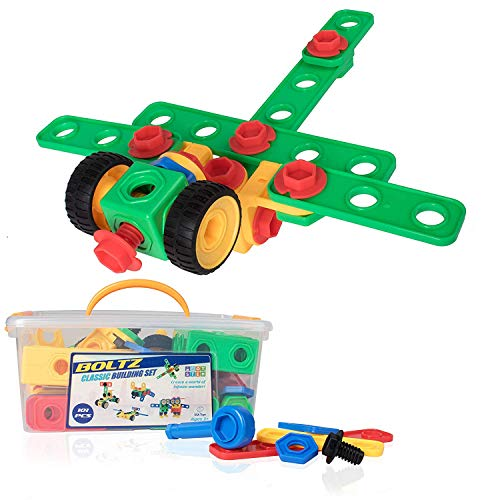 STEM Building Toys for Kids – 101pk Educational Blocks, Toy Tools and Gears Building Set, Toddler Boys and Girls Engineering Construction Gear Toys