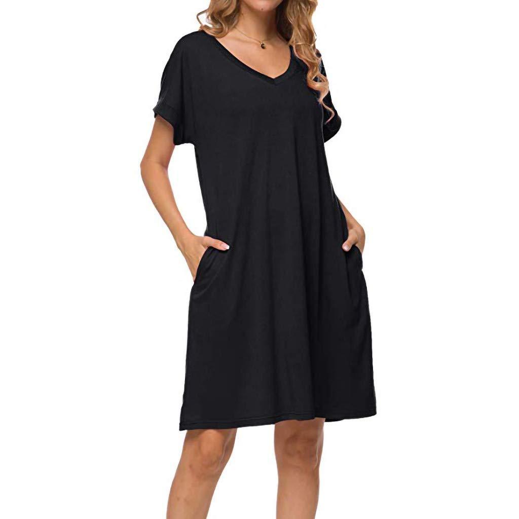 Birdfly ℱree Ship Spring Summer Womens Plain Summer V Neck Short Sleeve Casual Solid Pockets T Shirt Dress US Size Green