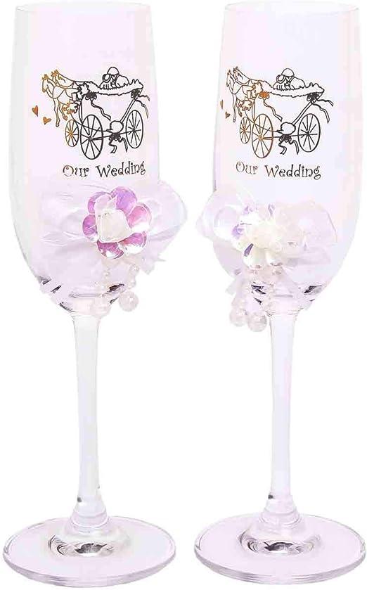Elegantes Copas de Cava Decorativas de Cristal para Brindis de Novios