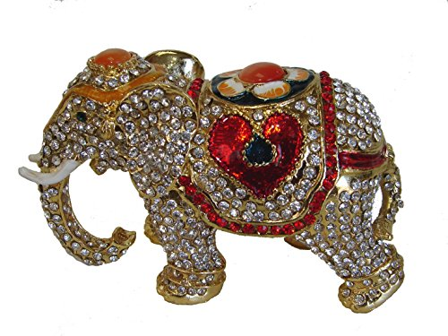 Feng Shui Import Bejeweled Cloisonne Elephant Statue with Trunk Down for Relationships
