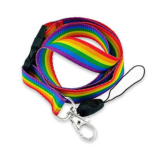 (Rainbow Striped Fabric Lanyard with Quick Release and ID/Badge/Card Holder (+Bonus Pouch))