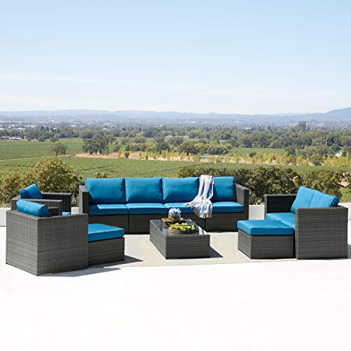 Supernova 12-Piece Patio Seating Furniture Fully Assembled Dark Grey Wicker & Olefin Fabric with Glass Table Top