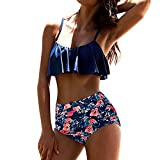 Women Swimsuits Two Piece Floral Halter Push-Up Padded Bikini Set Beach Swimwear Bathing Suit Blue