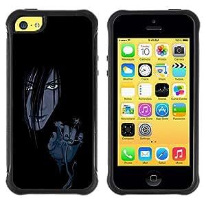 Suave TPU Caso Carcasa de Caucho Funda para Apple Iphone 5C / Evil Anime Girl / STRONG