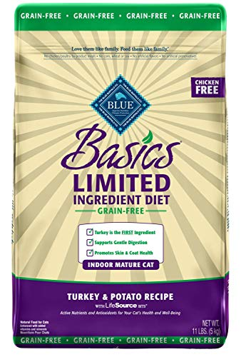 Blue Buffalo Basics Limited Ingredient Diet Grain Free, Natural Indoor Mature Dry Cat Food, Turkey & Potato 11-lb