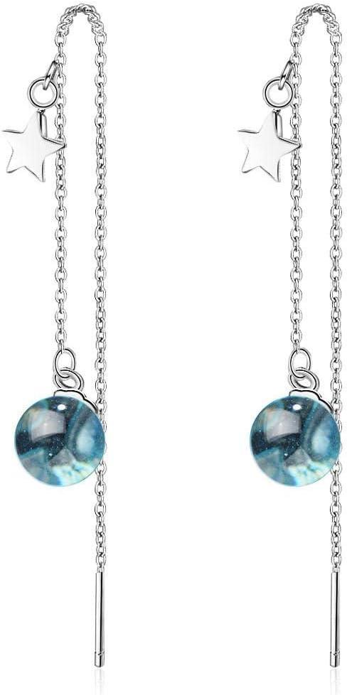 RKWEI Pendientes Para Mujer Plata De Ley 925 Pendientes Azules De La Bola De Cristal Pendientes De Las Señoras Joyería De Las Señoras