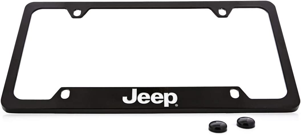 Jeep Wordmark Chrome Plated Metal License Plate Frame Holder