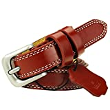 Cowskin Leather Belts For Women Decorative Simple Waist Belt Candy Color Red 120cm