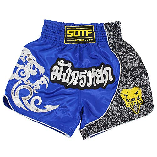 SOTF Muay Thai Fight Shorts for Kids Men Elastic Waist Kickboxing MMA Shorts Blue Small