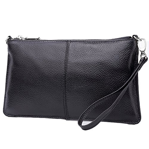 Lecxci Leather Crossbody Purses Clutch Phone Wallets with Card Slots for Women (Black) by Lecxci