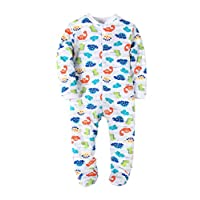Baby Boys Footed Pajama - 100% Cotton Zip Front Dinosaurs Bodysuit 3 Months