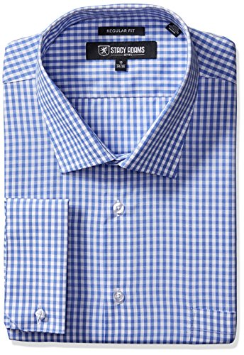 Multi Check Shirt - Stacy Adams Men's Big and Tall Gingham Check Dress Shirt, Blue, 18.5