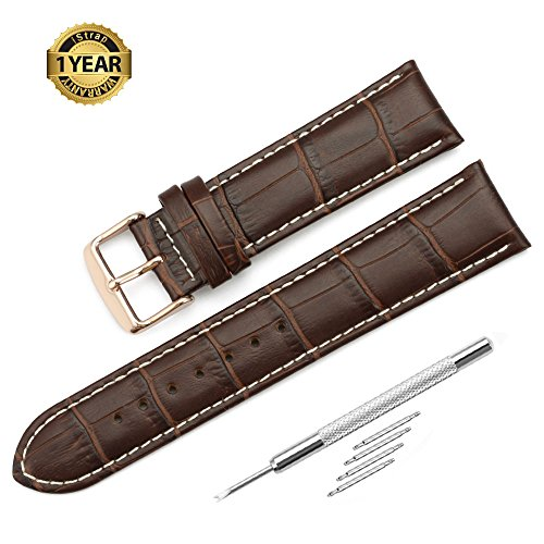 Leather Watch Band Alligator Grain Rose Gold Tang Buckle Padded - Brown (Genuine Alligator)