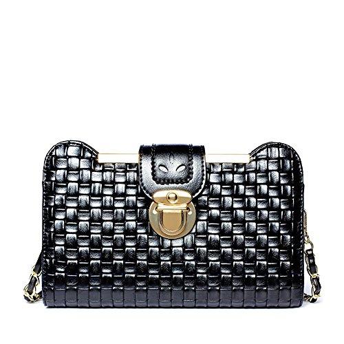 Simple Retro Lock Tissu tissé Straps carrés Sac à bandoulière PU Messenger Bag, Noir Loisirs