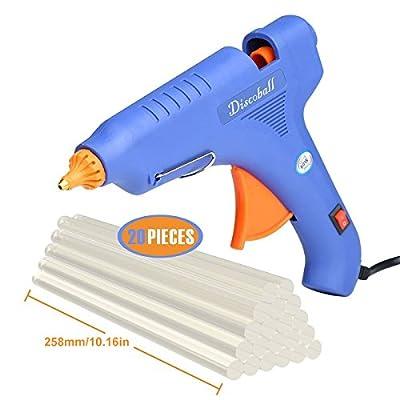 Hot Glue Gun, DISCOBALL 60 Watt Hot Melt Glue Gun with 20PCS Transparent Glue Gun Sticks for Arts & Crafts, & Sealing and Quick Repairs,Blue