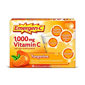 Emergen C (30 Count, Tangerine Flavor, 1 Month Supply) Dietary Supplement Fizzy Drink Mix with 1000mg Vitamin C, 0.33 Ounce Packets, Caffeine Free