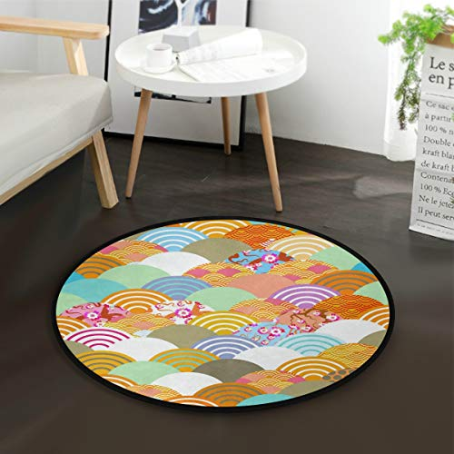 - Traditional Japanese Kimono Pattern Kids Round Rug Baby Crawling Non-Slip Mats Child Activity Play Mat for Bedroom Playroom Home Decor (Diameter 36.2