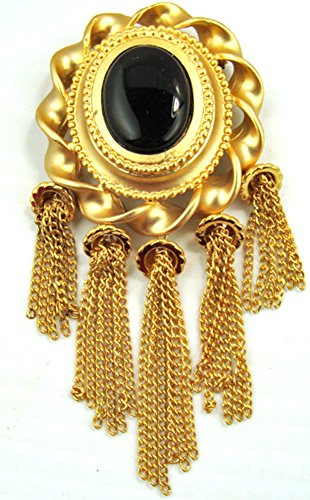 Vintage Style Large Oval Gold Tone Faux Black Onyx Center Tassel - Onyx Faux Oval