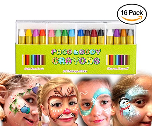 Face Paint set Crayons, Muscccm 16 Colors Non-toxic Body Paint Sticks Body Tattoo Makeup Crayons for Kids, Children, Toddlers, Party, Cosplay - Disguise Stick