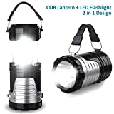 LED Camping Lantern - LED Camping Light, IRuiYinGo Camp Lantern Handheld Flashlight Portable Collapsible COB Lights Bulb Lamp Compact Gifts for Emergency, Survival, Hurricane, Power Outage (Battery Not Included)