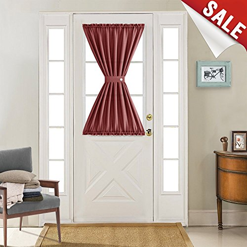 French Door Curtains Casual Weave Textured French Door Panel Curtains 40 inches Long Semi Sheer French Door Panels, Tieback Included, 1 Piece, Burgundy Red (Panel Tie Door Back)