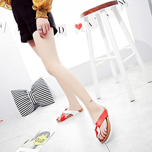 Unisex-Adult Flat Cork Sandals Open-Toe Slippers Shoes Beach Flip Flops White Red 6zF7DSzwRg