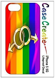 Gay Pride Rainbow Flag Dual Male Decorative Sticker Decal for your iPhone 5 Lifeproof Case