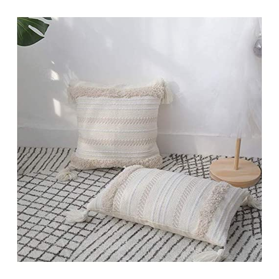 blue page Lumbar Small Decorative Throw Pillow Covers for Couch Sofa Bedroom Living Room, Woven Tufted Boho Pillows Cover with Tassels, Cute Farmhouse Pillows Case (12X20 inch, Yellowy Cream) - ✰ UNIQUE MODERN DESIGN: These pillow covers have a designer look and feel, will stands out in the mix. Fantastic quality will absolutely exceed your expectations. A textile fabric with an interesting and tribal design. Pairs well with Moroccan, Ethnic, Retro and Shabby Chic style decors. Choose only classic colors using weaving, tufting, tassels craftsmanship, warm and comfortable. ✰ FEATURES - The invisible zipper helps easily on and off. Absolutely adorable and nice decorative pillow cover. Thick fabric(weight 0.66 lb), really supports your back well, great design, good quality. The perfect boho looks pillow cover, fits perfectly and adds excellent texture to your collection of throw pillows. ✰ PERFECT GIFT - We offer YOU the best quality and workmanship with these cushion covers. Super cute and very attractive design, these will last you many fun occasions and seasons to come, will also make a PERFECT GIFT for your loved ones during Housewarming, Thanksgiving or Christmas, to decor your living room, bedroom, sofa, couch, car seat, floor, bench, office, a coffee shop, etc. - living-room-soft-furnishings, living-room, decorative-pillows - 51a%2BFy2tqeL. SS570  -