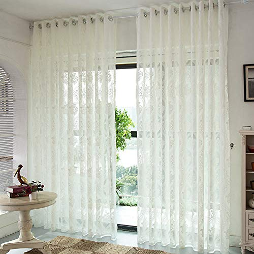 WINYY European Style Bedroom Curtain Floral Sheer Curtain Drape Window Treatment Eyelets Grommets Top Voile Tulle for Doorway Room Divider Hotel Home Decor 1 Panel (39 Inch Wide, 84 Inch Long)