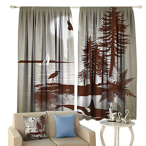 HoBeauty Nautical, Room Darkening Wide Curtains, Detailed Complex West Coast Scenery in Graffiti Style Nature Inspired Art Print, Waterproof Window Curtain,(W84 x L72 Inch, Light Brown