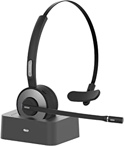 YAMAY Bluetooth Headset for Cell Phones, Wireless Headset Noise Cancelling Bluetooth Headphones with Microphone,Charging Dock,Mute Button for Trucker Drivers Call Center Office PC iPhone Android