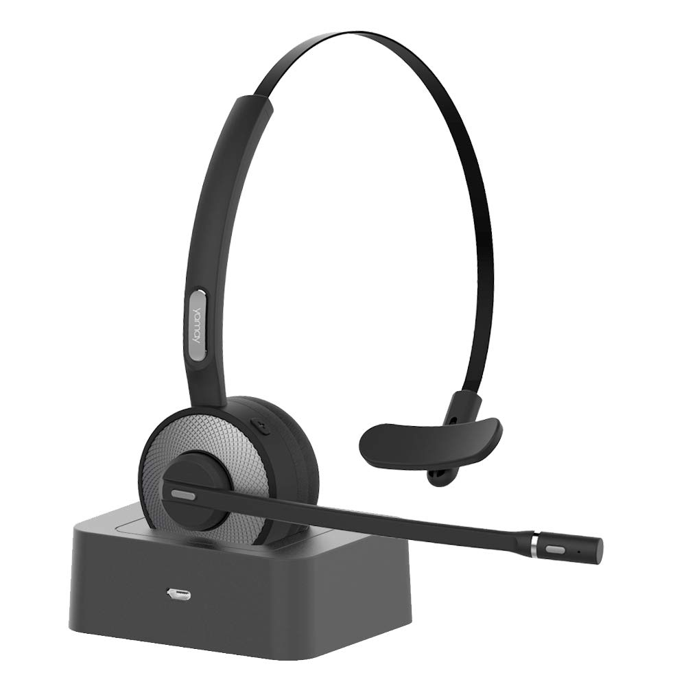 YAMAY Wireless Headset Noise Cancelling Bluetooth Headphones with Microphone,Charging Dock