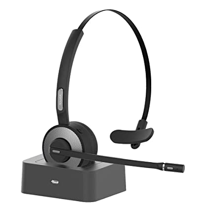 YAMAY Bluetooth Headset for Cell Phones, Wireless Headset Noise Cancelling  Bluetooth Headphones with Microphone,Charging Dock,Mute Button for Trucker