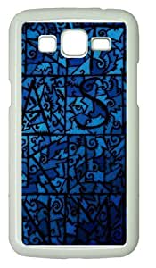 Blue Stained Glass PC Case Cover for Samsung Grand 2 and Samsung Grand 7106 White