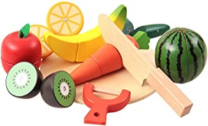MAGIKON Wooden Magnetic Cutting Fruits Toy Playset , Pretend Play Food for Kids (14pcs Set,Wooden)