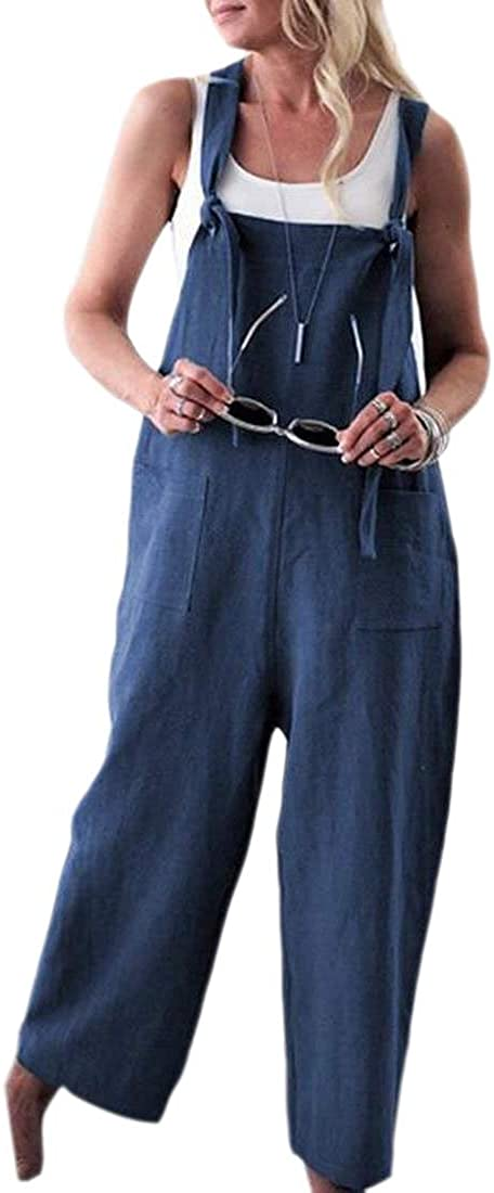 Smeiling-CA Women Plus Size Jumpsuits Overalls Baggy Bib Wide Leg Rompers