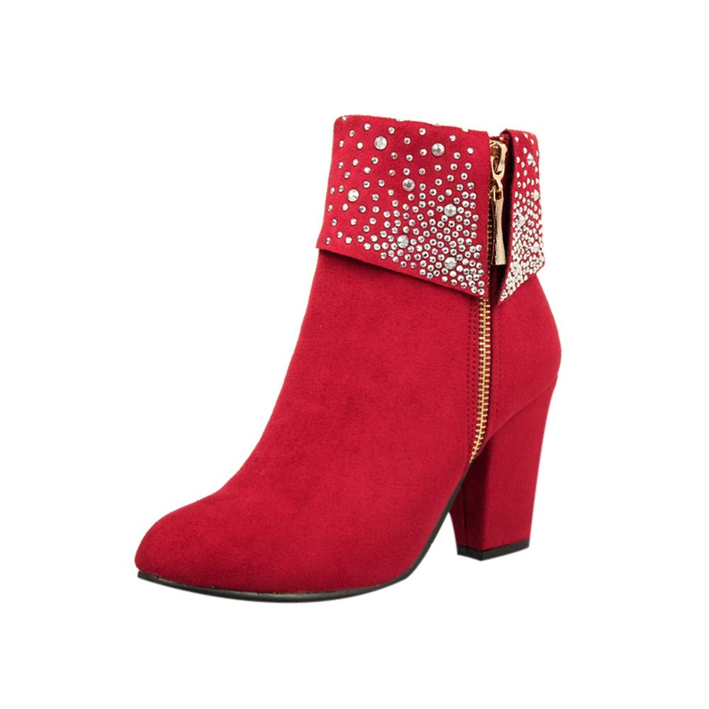 Womens Sexy Crystal Ankle Boots Thick Square Heels Side Zipper Party Booties Warm Round Toe Shoes Size 5-9.5 (Red, US:8)