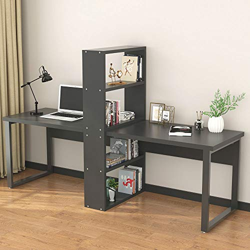 """LITTLE TREE 94"""" Computer Office Desk with Shelves for Two Person, Extra Large Double Workstations Desk with Storage for Home Office Use (All Black)"""