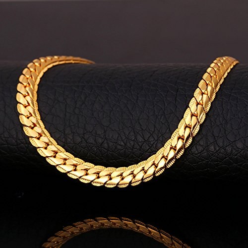 U7 18K Gold Plated Men Jewelry 6MM Unique Snake Chain Necklace 22-Inch