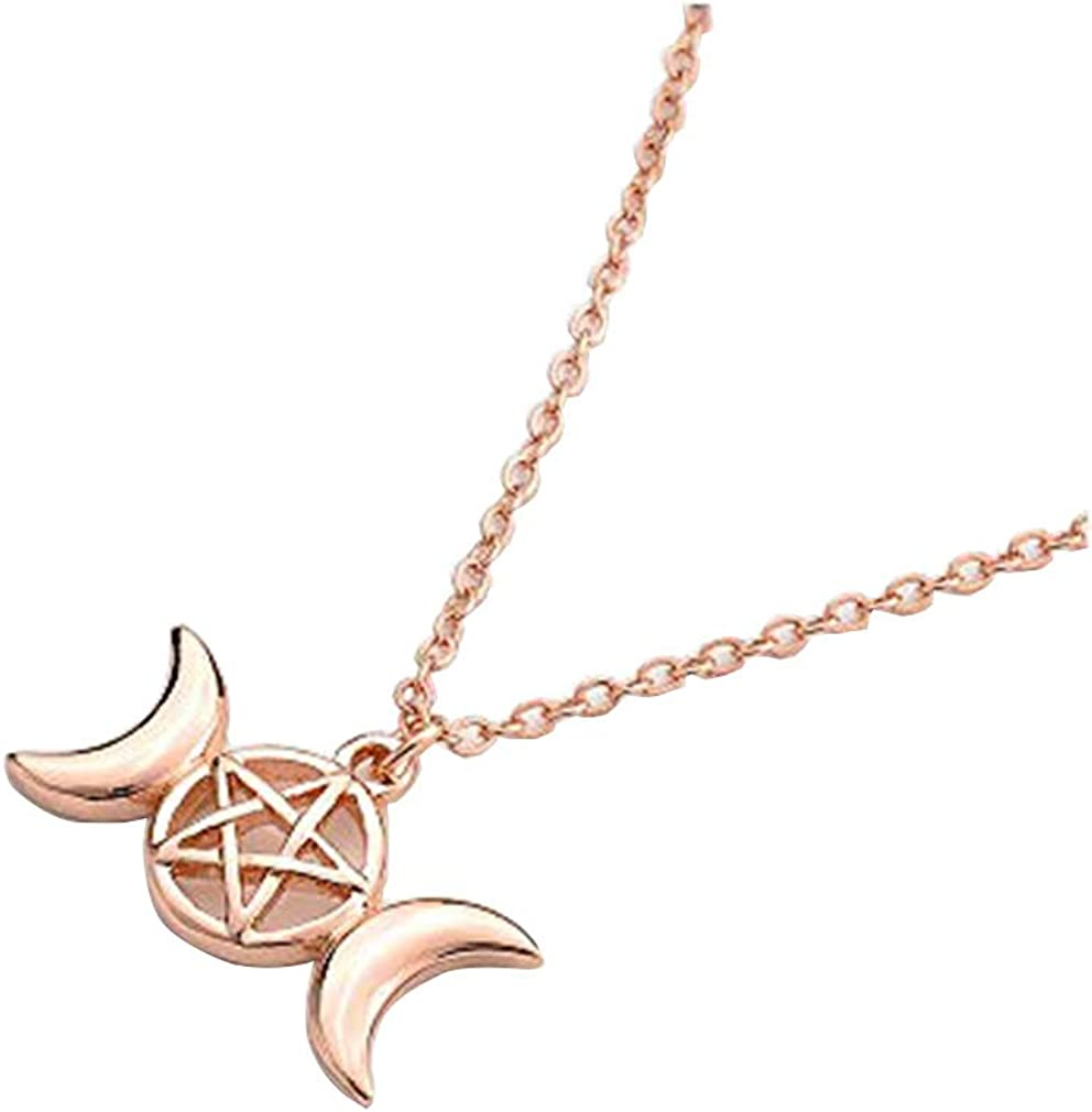 MANZHEN Triple Moon Goddess Pendant Necklace Pentacle Pentagram Wiccan Jewelry