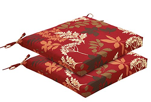 Bossima Indoor/Outdoor Red/Brown Floral Seat Pad, Set of 2, Seasonal Replacement Chair ()