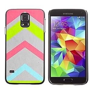 FECELL CITY // Duro Aluminio Pegatina PC Caso decorativo Funda Carcasa de Protección para Samsung Galaxy S5 SM-G900 // Pink Pastel Gray Chevron Pattern