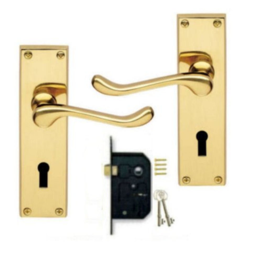 Victorian Scroll Polished Brass Lever Lock Door Handles + 2 Lever ...