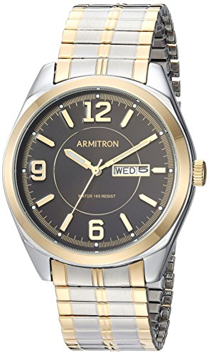 Armitron Men's 20/4591BKTT Day/Date Function Two-Tone Expansion Band (Armitron Stainless Steel Bands)