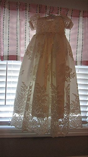 Banfvting Baby-girls Lace Beads Infant Toddler White Christening Gowns Long by Banfvting (Image #4)