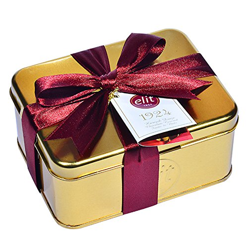 Elit - Assortment of Chocolate Fruits & Nuts Dragee (Almond, Hazelnut, Orange peels covered by Dark, Milk, White Chocolate) in Special Design 1924 Gold Metal Box With Purble Ribbon - 250g/8.82oz ()