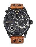 BOAMIGO Men Analog Auto Date 2 Time Zone Quartz Watches Brown Leather Straps Fashion Sport Watches