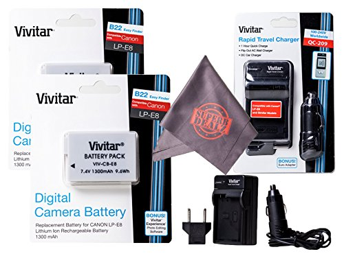 2 Pack of LP-E8 Vivitar Ultra High Capacity Rechargeable 130